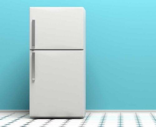 A refrigerature/freezer on a blue background