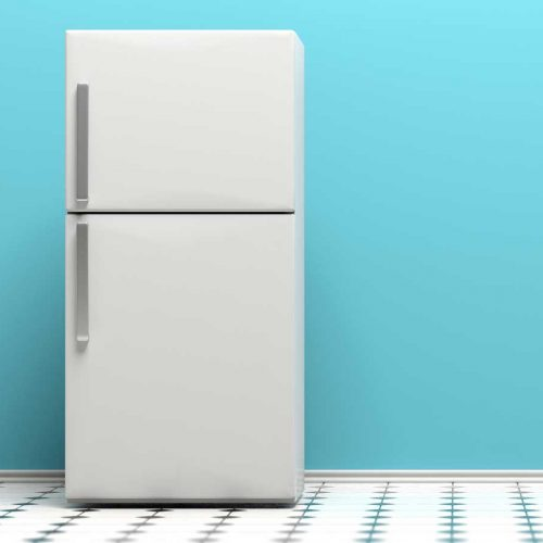 A refrigerature/freezer on a blue background