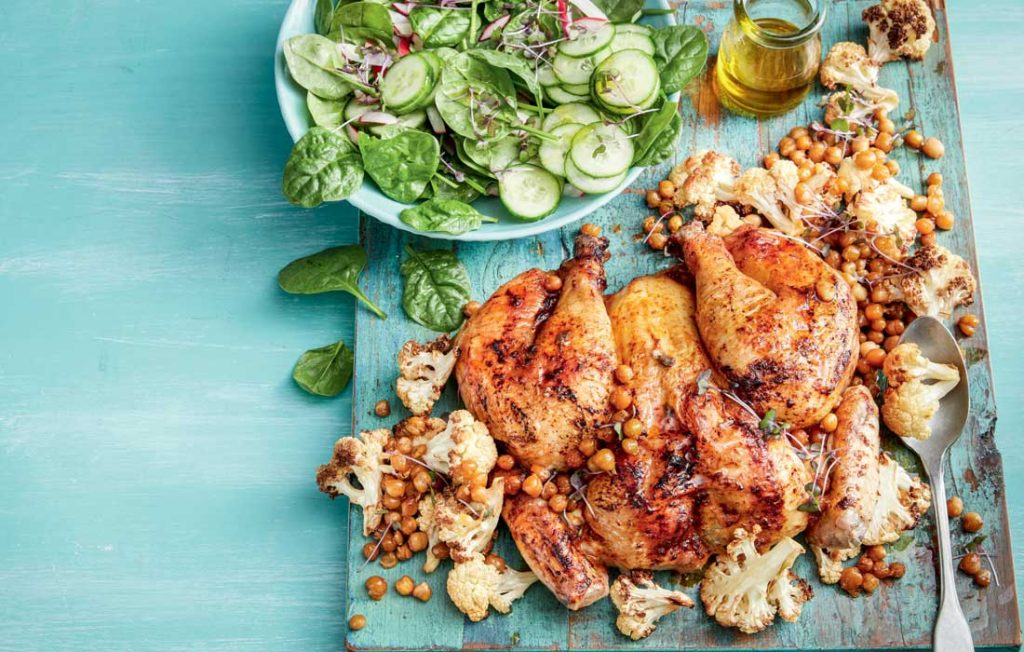 Roast chcken with chickpeas and cauliflower