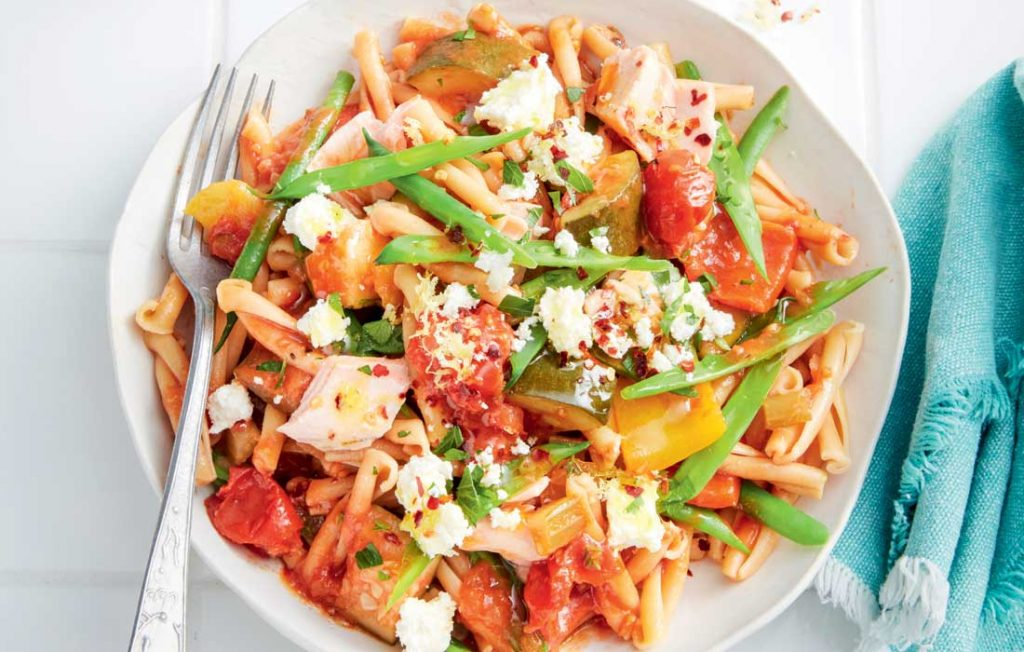 Pasta with hot smoked salmon, ratatouille and ricotta