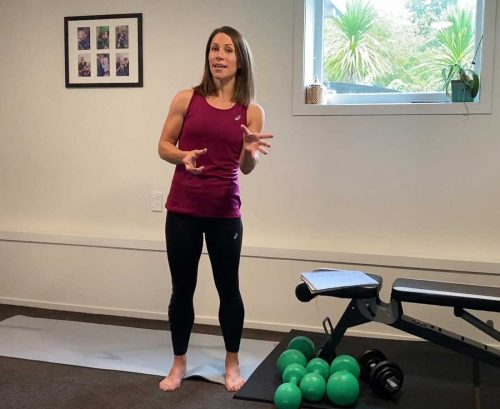 Claire Turnbull explaining exercises