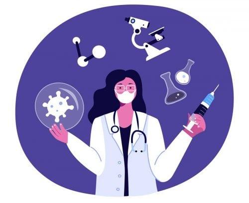 Cartoon scientist surrounded by microscope, beakers, coronavirus, holding syringe