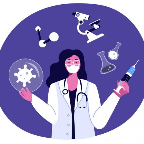 Cartoon scientist surrounded by microscope, beakers, coronavirus, holding syringe