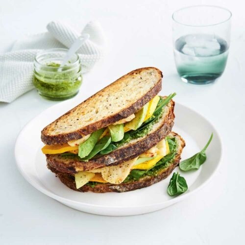 Pumpkin, pesto and haloumi toastie