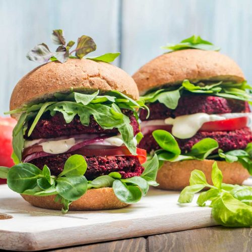 Two big plant-based or vegetarian burgers