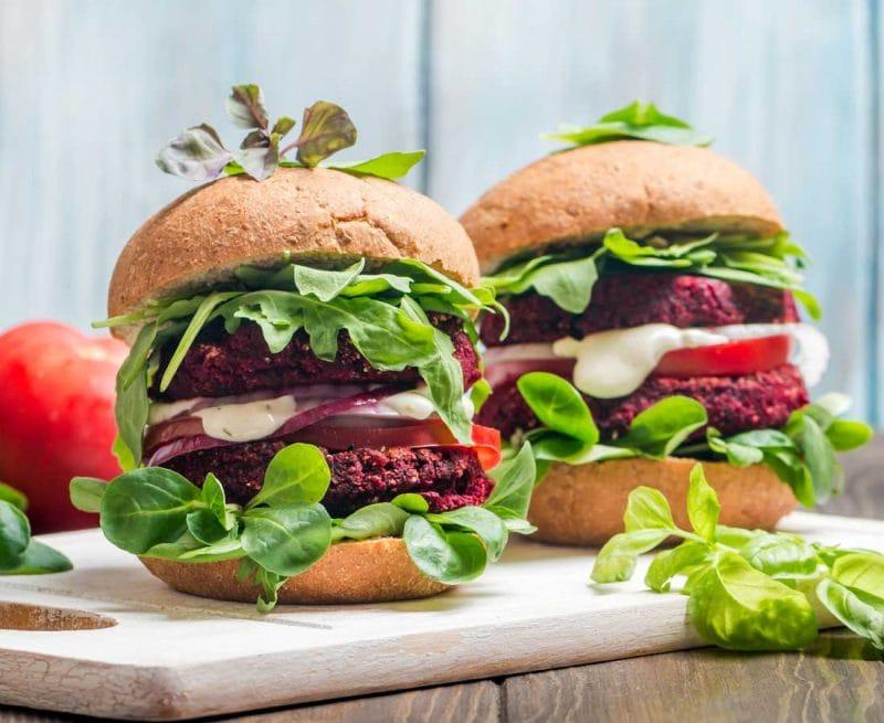 Two big plant-based or vegetarian burgers