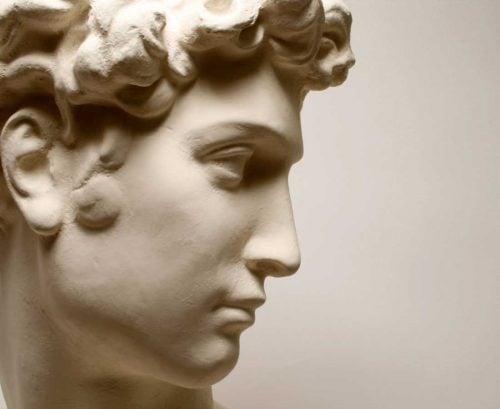 Profile of a statue's nose