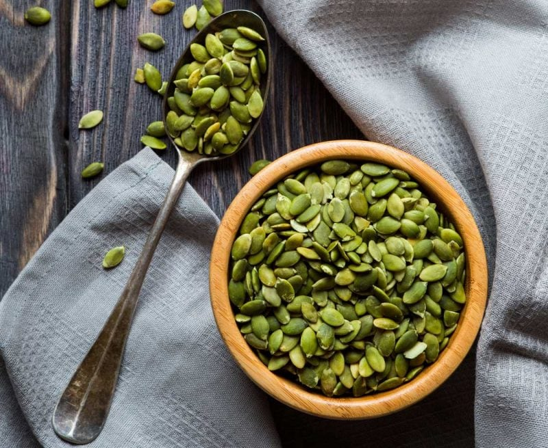 Bowl of pumpkin seeds (pepitas)