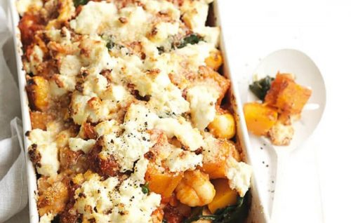 Baked gnocchi with squash and spinach