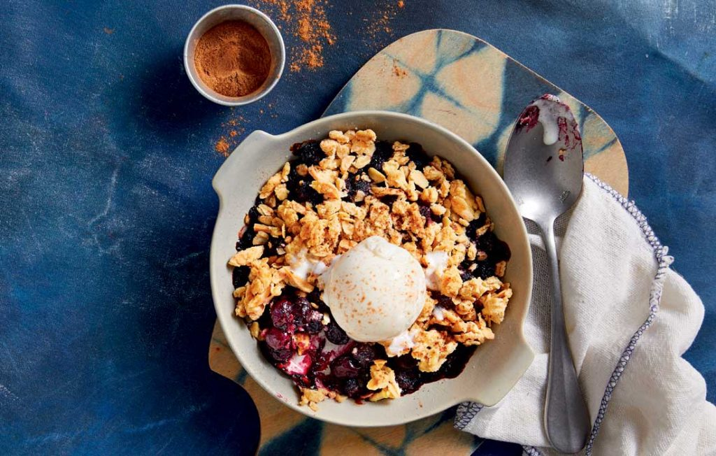 Blueberry crumble for one