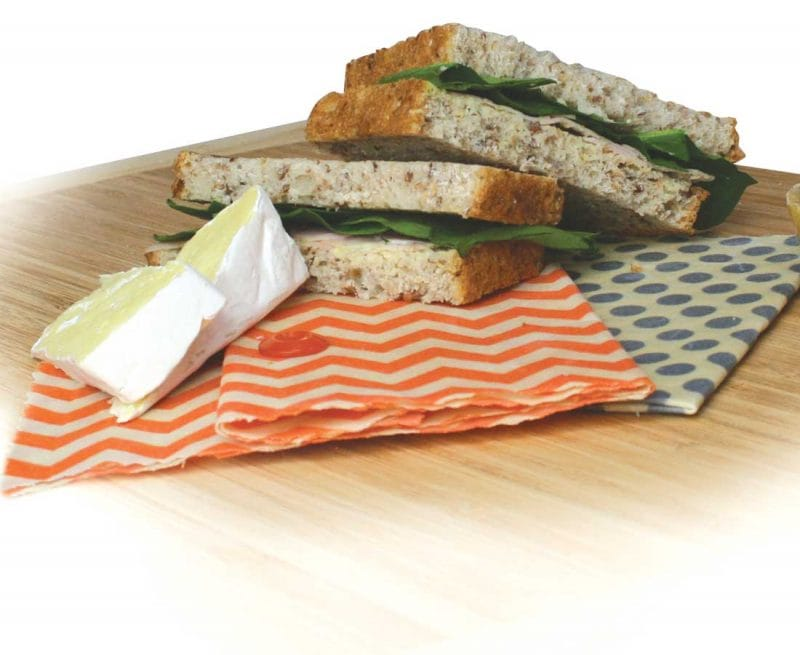 beeswax wraps with sandwiches and cheese