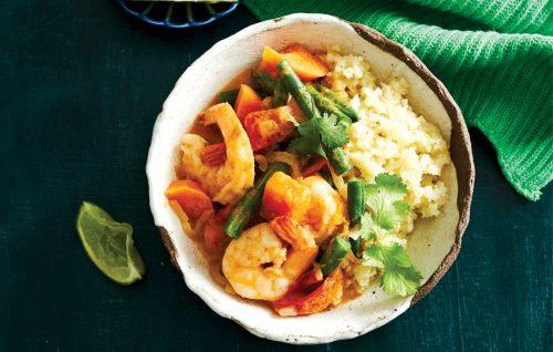 Malaysian prawn and sweet potato curry