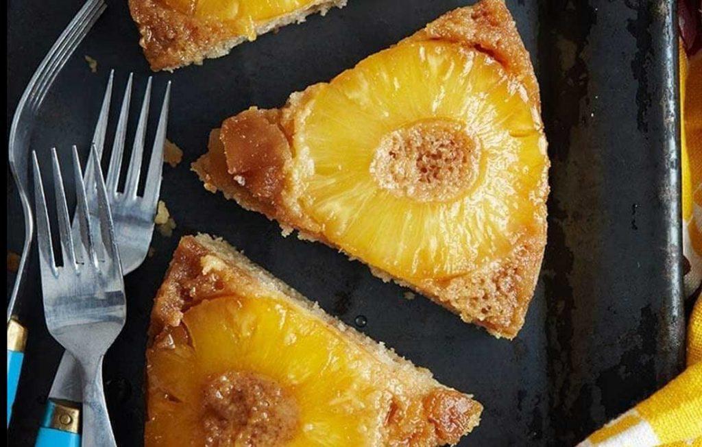 Healthier pineapple upside-down cake