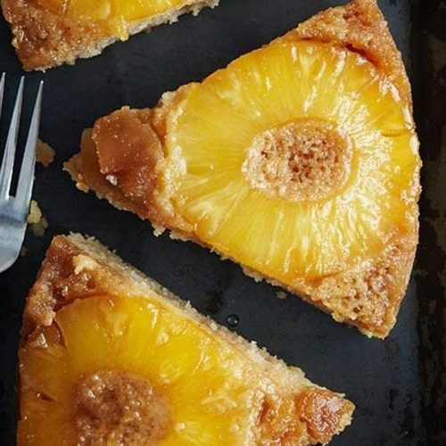 Healthier pineapple upside-down cake