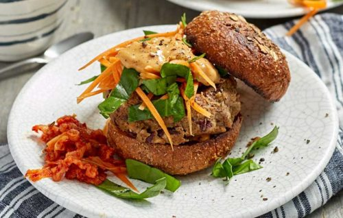 Vegan satay burgers with slaw