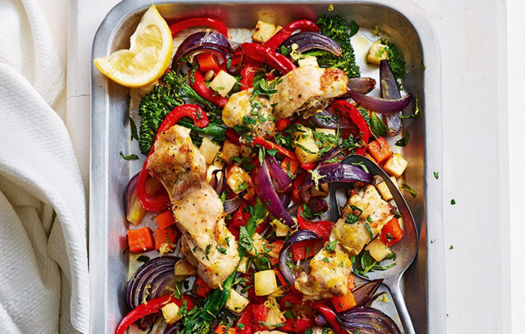 Chicken and vegetable tray bake