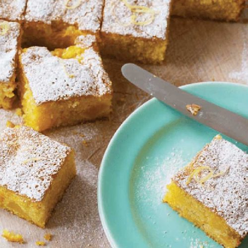 Gluten-free polenta and peach tray cake