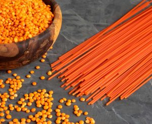 Red lentils and red lentil spaghetti
