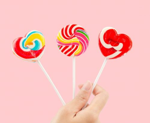 Three sugary lollipops