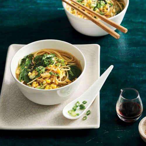 Miso and corn soup with ramen noodles