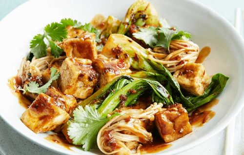 Spicy tofu with mushrooms and pak choi