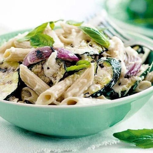 Courgette penne pasta with ricotta and parmesan