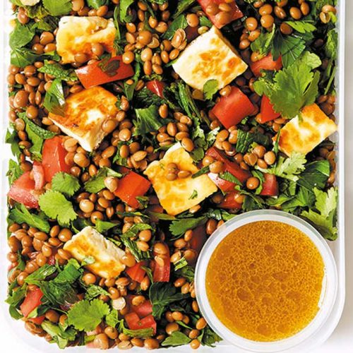 Herby lentil and haloumi salad