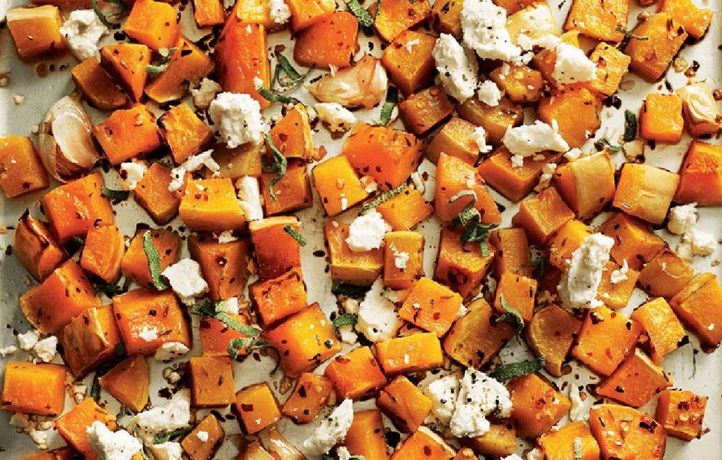 Butternut pumpkin and feta salad