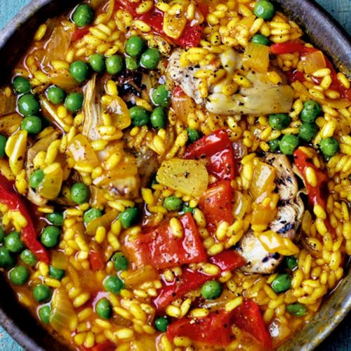 Vegan paella with artichoke