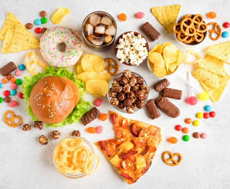 Chips, donuts, burger, pizza, sweets, candy, pretzels, biscuits