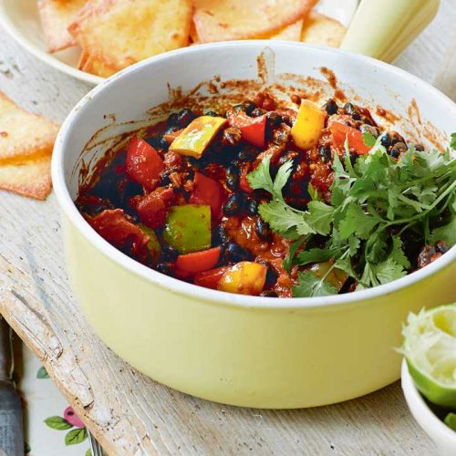 Vegan black bean and chocolate chilli