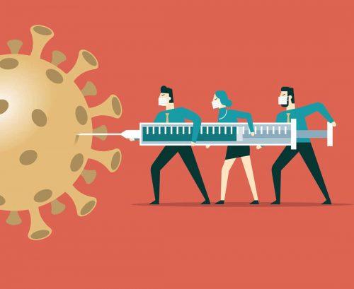Cartoon people injecting COVID virus with vaccine
