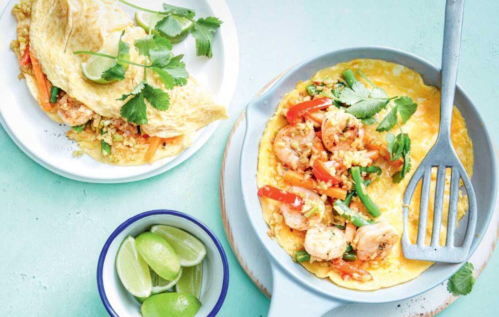 Nasi goreng prawn and cauliflower omelettes