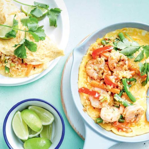 Nasi goreng prawn and cauliflower omelettes