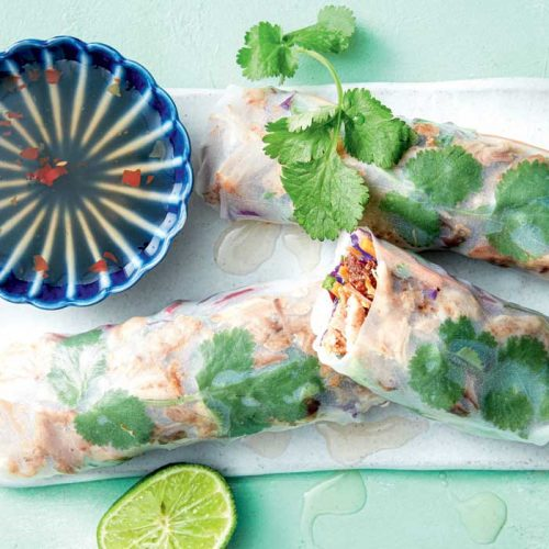 Pulled pork and coriander rice paper rolls