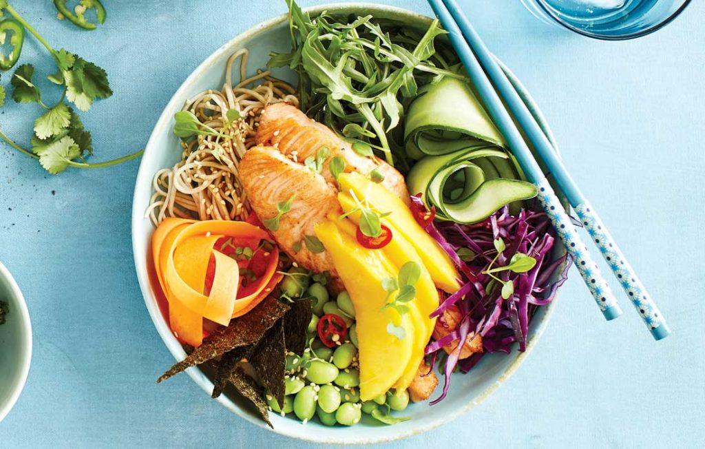 Seared salmon bowl with ponzu sauce