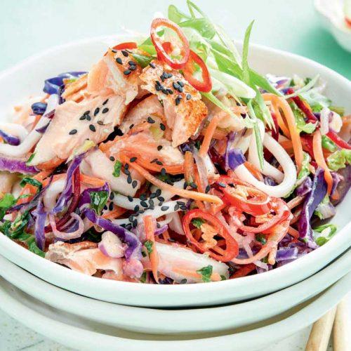 Sesame salmon udon noodles