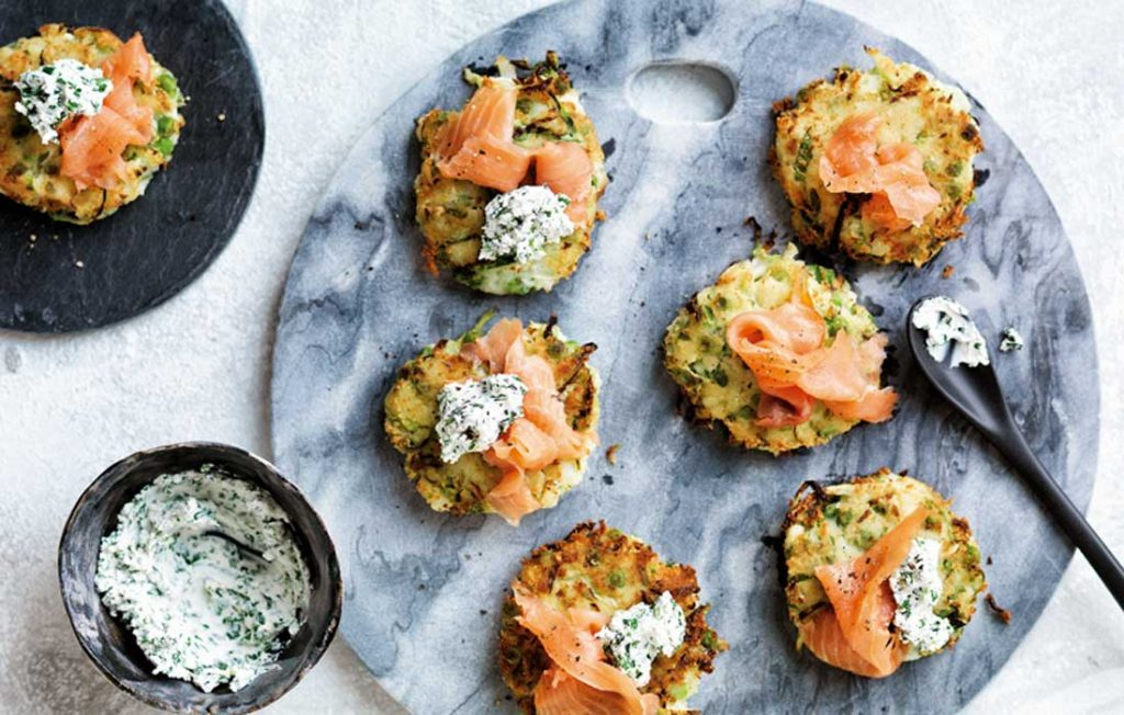 Smoked salmon and goat's cheese fritters