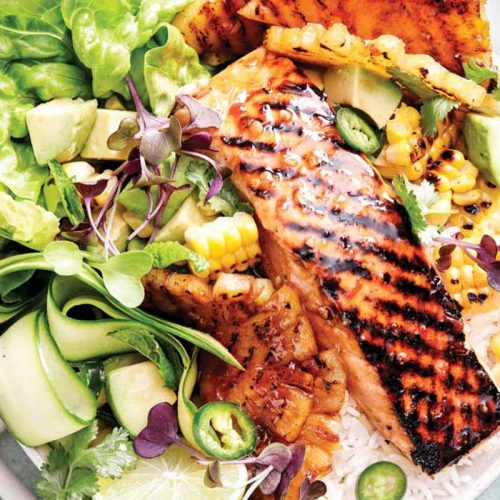 Salmon, pineapple and BBQ corn salad bowl