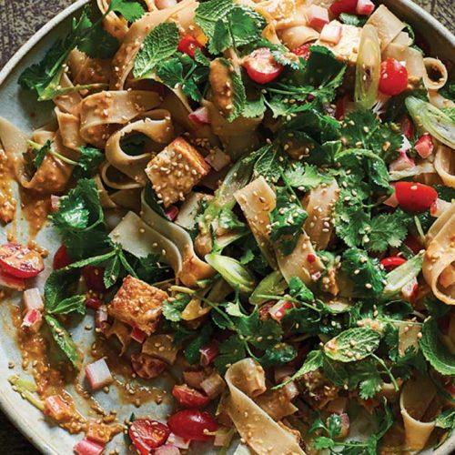 Peanut and tofu noodle salad
