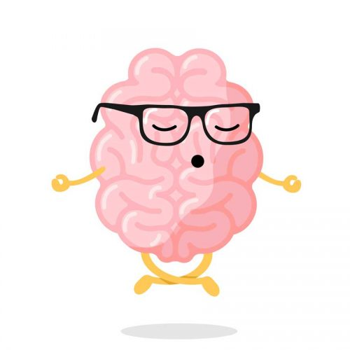 Cartoon of a brain in glasses meditating