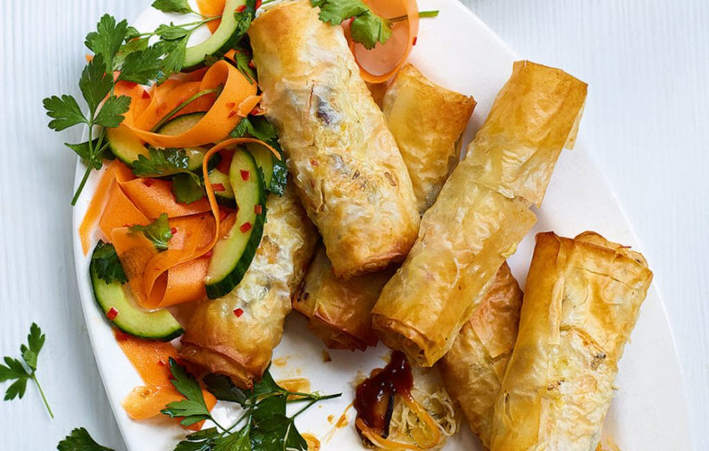 Vegetable spring rolls made healthier