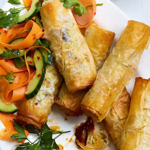 Vegetable spring rolls made healthier