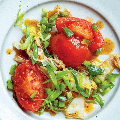 Vegan cabbage, tomato and spring onion stir-fry