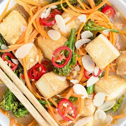 Vegan laksa with tofu, and carrot noodles