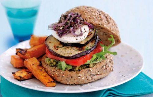 Vegetable burgers with kumara wedges