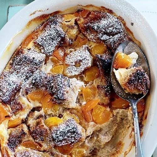 Apricot bread and butter pudding made healthier