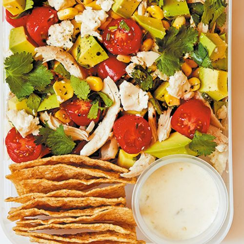 Chicken taco salad with jalapeño crema