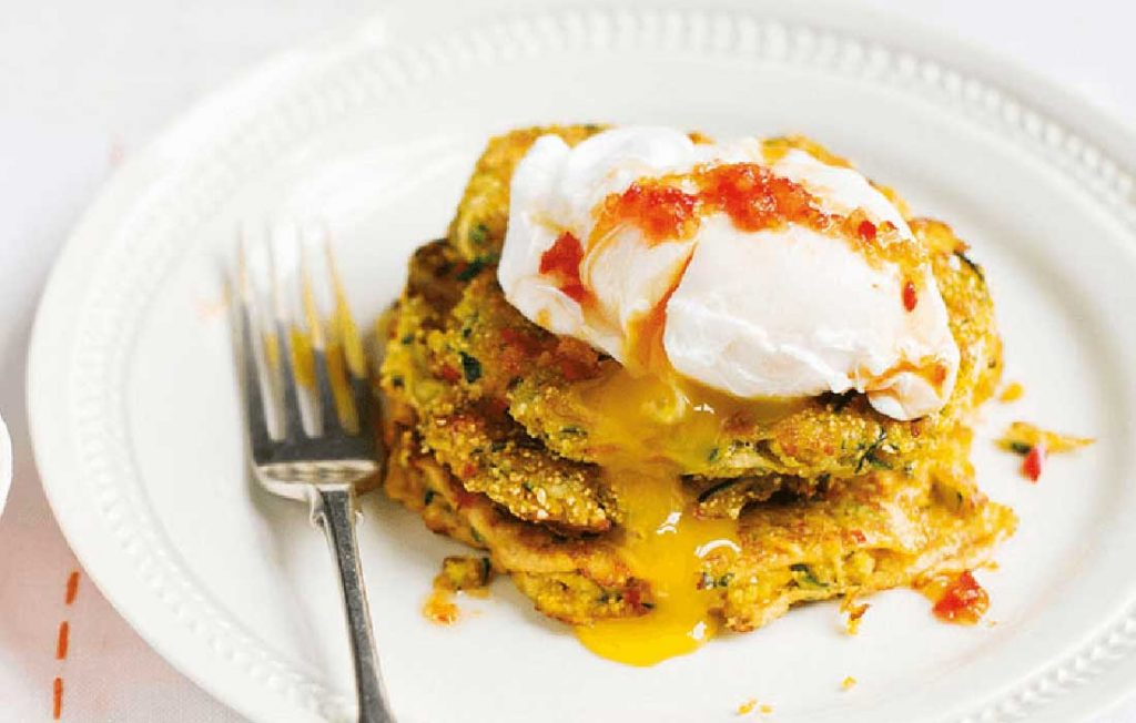 Courgette fritters with poached eggs