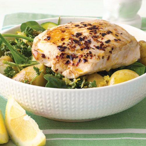Pan-fried fish with warm potato salad